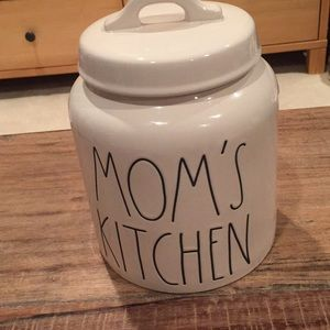 "Rae Dunn ""Mom's Kitchen"" ceramic canister w/lid."